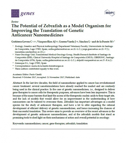 "Our Review ""The Potential of Zebrafish as a Model Organism for Improving the Translation of Genetic Anticancer Nanomedicines"" is now available online"