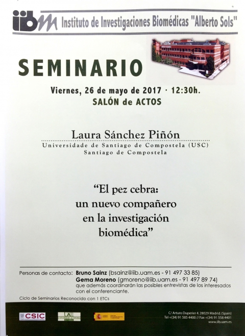 "Laura Sanchez attended as a guest speaker to give a conference at the Institute of Biomedical Research ""Alberto Sols"" IIB (CSIC-UAM)"